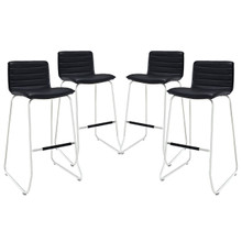 Dive Bar Stool Set of 4, Black Faux Leather