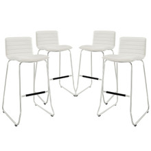 Dive Bar Stool Set of 4, White Faux Leather