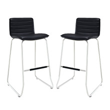 Dive Bar Stool Set of 2, Black Faux Leather