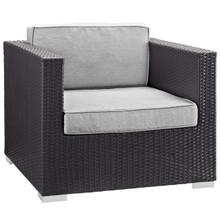 Convene Outdoor Patio Armchair, Brown Grey Plastic Fabric