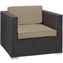 Convene Outdoor Patio Armchair, Brown Plastic Fabric