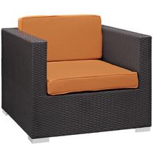 Convene Outdoor Patio Armchair, Orange Plastic Fabric