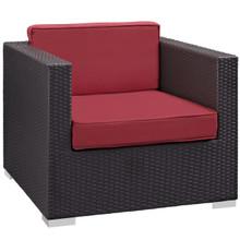 Convene Outdoor Patio Armchair, Red Plastic Fabric