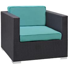 Convene Outdoor Patio Armchair, Blue Plastic Fabric