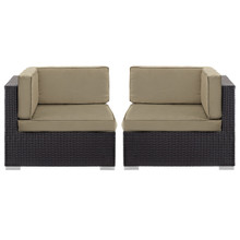 Convene Corner Sectional Outdoor Patio Set of Two, Brown Plastic Fabric