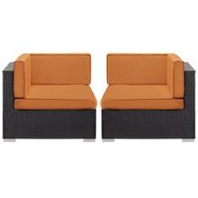 Convene Corner Sectional Outdoor Patio Set of Two, Orange Plastic Fabric