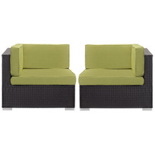 Convene Corner Sectional Outdoor Patio Set of Two, Green Plastic Fabric