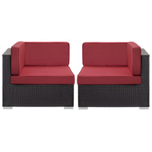Convene Corner Sectional Outdoor Patio Set of Two, Red Plastic Fabric