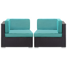 Convene Corner Sectional Outdoor Patio Set of Two, Blue Plastic Fabric