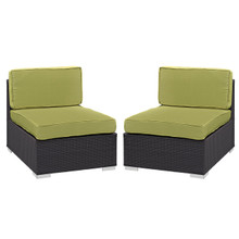 Convene Armless Chair Outdoor Patio Set of Two, Green Plastic Fabric