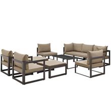 Fortuna 10 Piece Outdoor Patio Sectional Sofa Set, Brown Fabric Steel