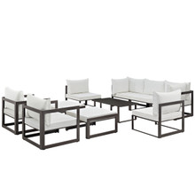 Fortuna 10 Piece Outdoor Patio Sectional Sofa Set, Brown White Fabric Steel