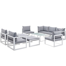 Fortuna 10 Piece Outdoor Patio Sectional Sofa Set, White Grey Fabric Steel
