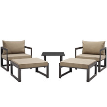 Fortuna 5 Pcs Outdoor Patio Sectional Sofa Set, Brown Fabric Steel