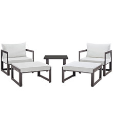 Fortuna 5 Pcs Outdoor Patio Sectional Sofa Set, Brown White Fabric Steel