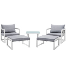 Fortuna 5 Pcs Outdoor Patio Sectional Sofa Set, White Grey Fabric Steel