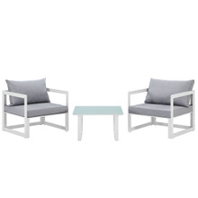Fortuna 3 Piece Outdoor Patio Sectional Sofa Set, White Grey Fabric Steel