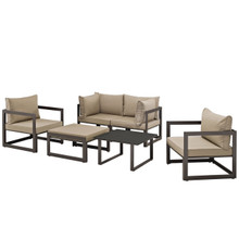 Fortuna 6 Pcs Outdoor Patio Sectional Sofa Set, Brown Fabric Steel