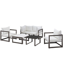 Fortuna 6 Pcs Outdoor Patio Sectional Sofa Set, Brown White Fabric Steel