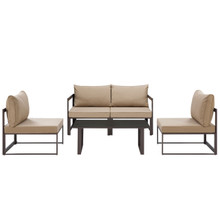 Fortuna 5 Piece Outdoor Patio Sectional Sofa Set, Brown Fabric Steel