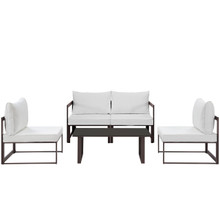 Fortuna 5 Piece Outdoor Patio Sectional Sofa Set, Brown White Fabric Steel