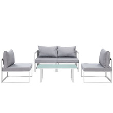 Fortuna 5 Piece Outdoor Patio Sectional Sofa Set, White Grey Fabric Steel