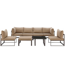 Fortuna 8 Pcs Outdoor Patio Sectional Sofa Set, Brown, Fabric Steel