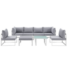 Fortuna 8 Pcs Outdoor Patio Sectional Sofa Set, White Grey, Fabric Steel