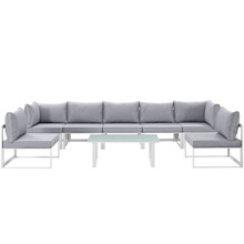Fortuna 8 Piece Outdoor Patio Sectional Sofa Set, White Grey Fabric Steel