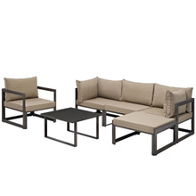 Fortuna 6 Piece Outdoor Patio Sectional Sofa Set, Steel Brown Fabric