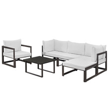 Fortuna 6 Piece Outdoor Patio Sectional Sofa Set, Steel Brown White Fabric