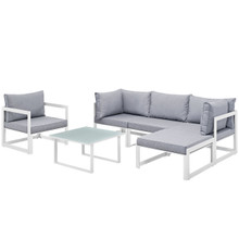 Fortuna 6 Piece Outdoor Patio Sectional Sofa Set, Steel White Grey Fabric