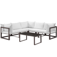 Fortuna 6 Piece Outdoor Patio Sectional Sofa Set, Steel, Brown White Fabric