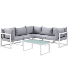 Fortuna 6 Piece Outdoor Patio Sectional Sofa Set, Steel, White Grey Fabric