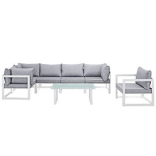 Fortuna 7 Piece Outdoor Patio Sectional Sofa Set, White Grey Fabric Steel