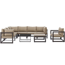 Fortuna 9 Piece Outdoor Patio Sectional Sofa Set, Brown Fabric Steel