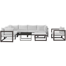 Fortuna 9 Piece Outdoor Patio Sectional Sofa Set, Brown White Fabric Steel