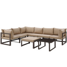 Fortuna 8 Piece Outdoor Patio Sectional Sofa Set, Steel Brown Fabric