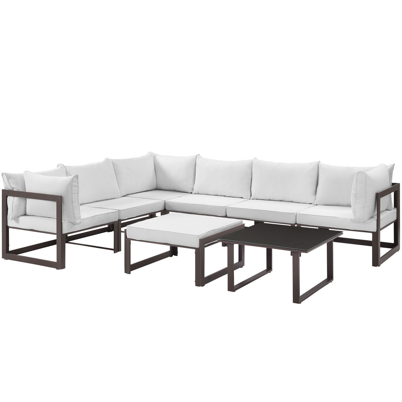 Fortuna 8 Piece Outdoor Patio Sectional Sofa Set, Steel Brown White Fabric