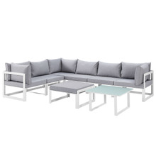 Fortuna 8 Piece Outdoor Patio Sectional Sofa Set, Steel White Grey Fabric