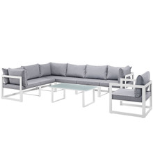 Fortuna 8 Piece Outdoor Patio Sectional Sofa Set, Steel, White Grey Fabric