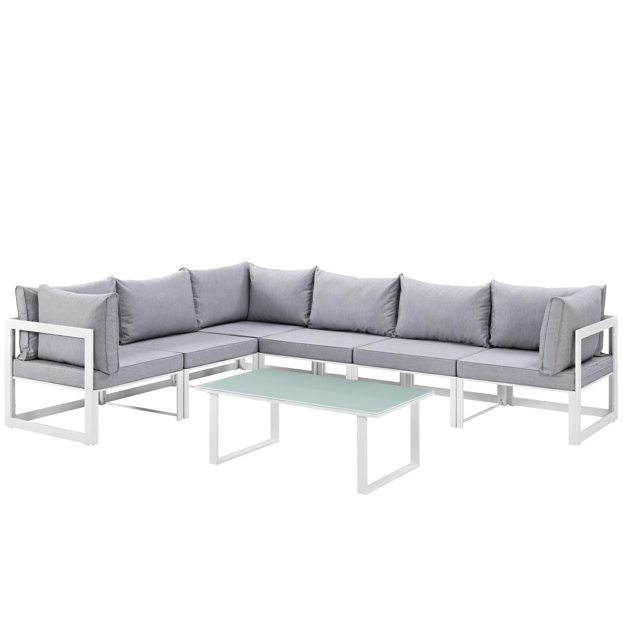 Fortuna 7 Piece Outdoor Patio Sectional Sofa Set, Steel ...
