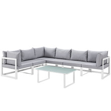 Fortuna 7 Piece Outdoor Patio Sectional Sofa Set, Steel White Grey Fabric