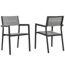 Maine Dining Armchair Outdoor Patio Set of 2, Brown Grey Steel