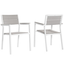 Maine Dining Armchair Outdoor Patio Set of 2, White Light Grey Steel