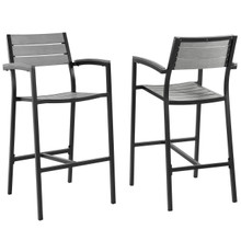 Maine Bar Stool Outdoor Patio Set of 2, Brown Grey Steel