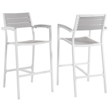 Maine Bar Stool Outdoor Patio Set of 2, White Light Grey Steel