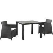 Junction 3 Piece Outdoor Patio Wicker Dining Set, Brown White Plastic