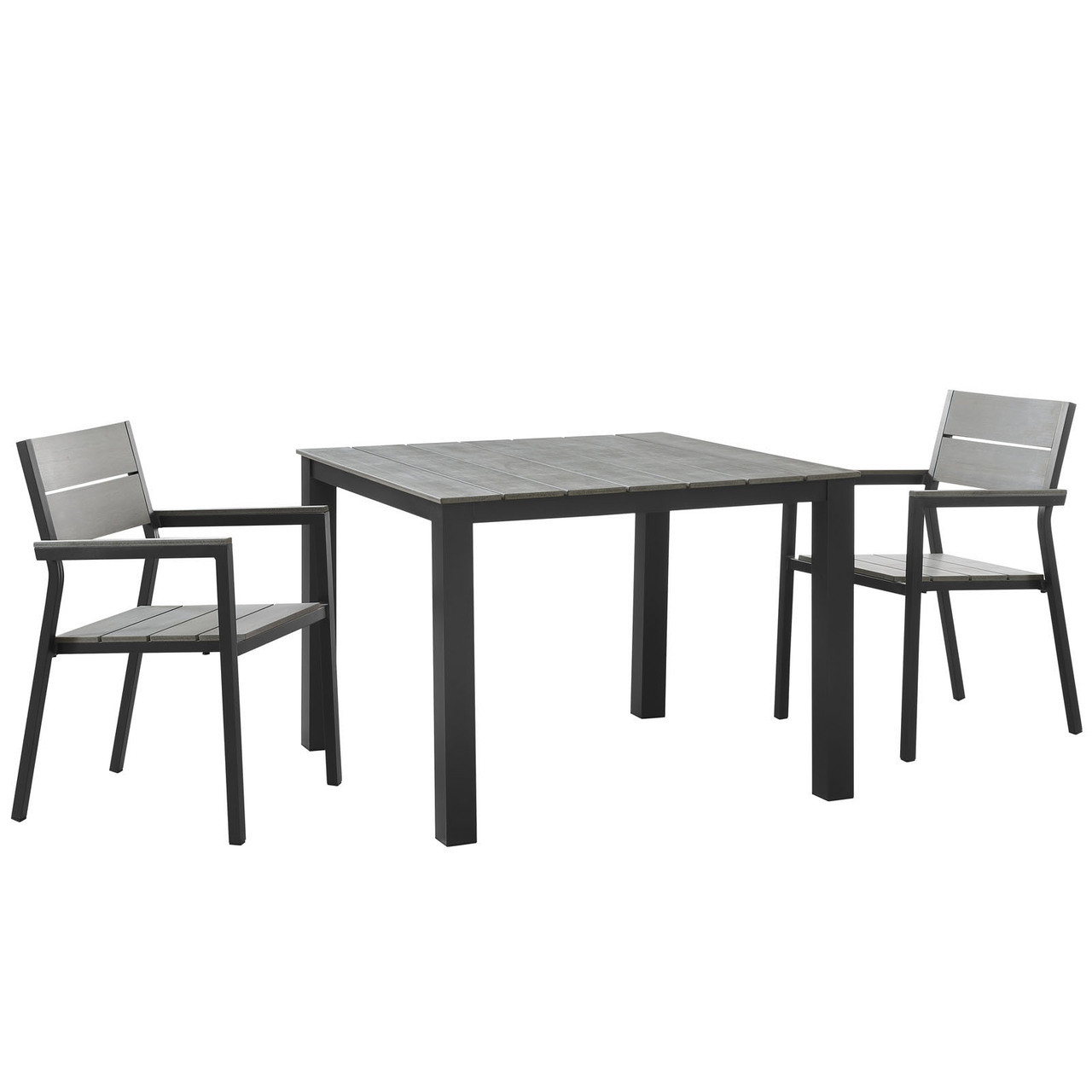 Admirable Maine 3 Piece Outdoor Patio Dining Set Brown Grey Steel Beutiful Home Inspiration Ommitmahrainfo