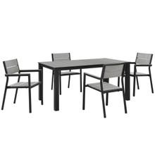 Maine 5 Piece Outdoor Patio Dining Set, Brown Grey Steel